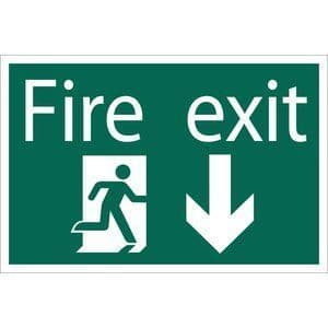 DRAPER 'Fire Exit Arrow Down' Safety Sign